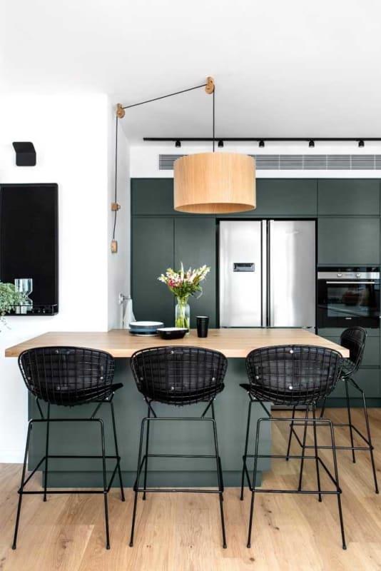 cozinha moderna verde musgo