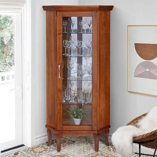 cristaleira de vidro de canto com madeira