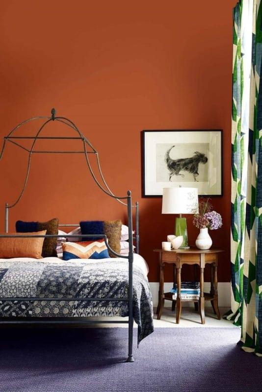 decoração de quarto com cor terracota