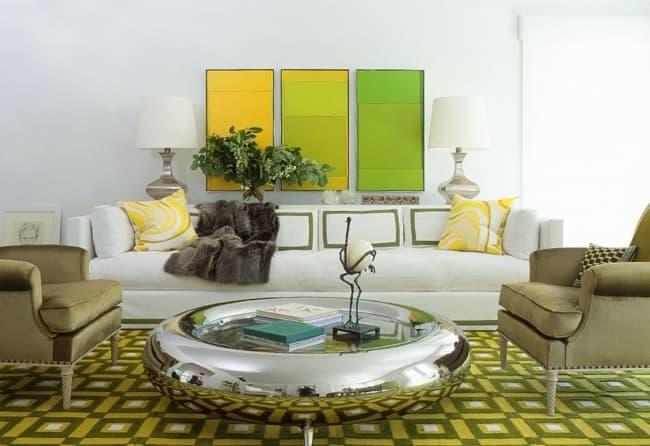 decoração verde com amarelo