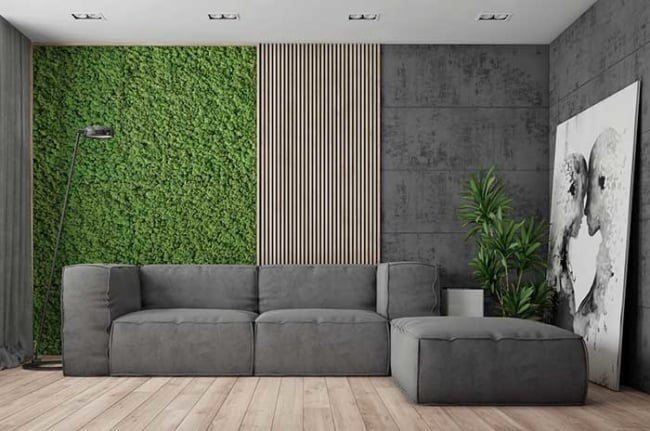 decoração verde com cinza
