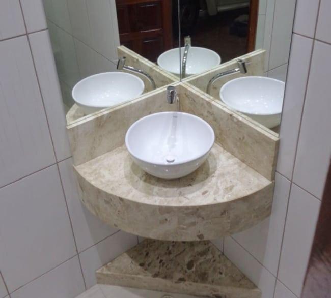 dica de Pia de canto para banheiro