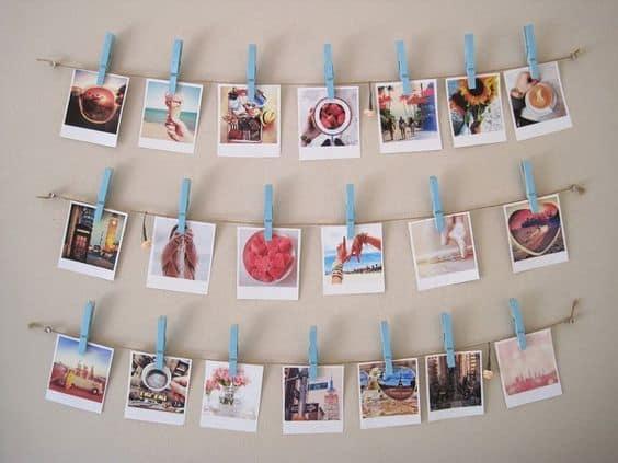 dicas de varal de fotos polaroid