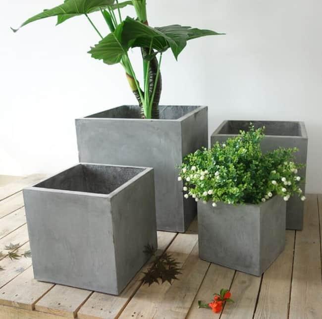 floreira de cimento quadrada