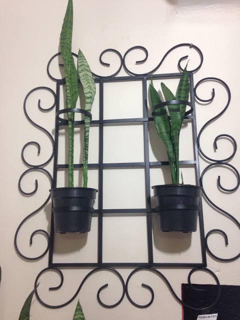 floreira de ferro com vasos
