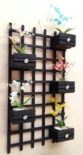 floreira de parede preta