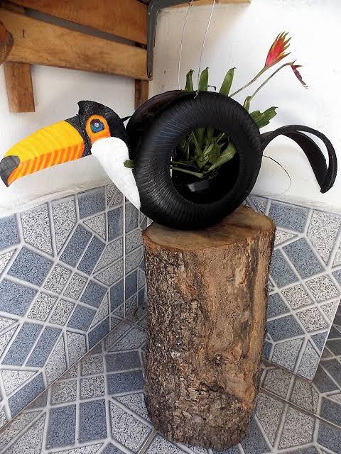 floreira de pneu criativa