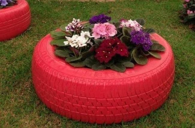 floreira de pneu