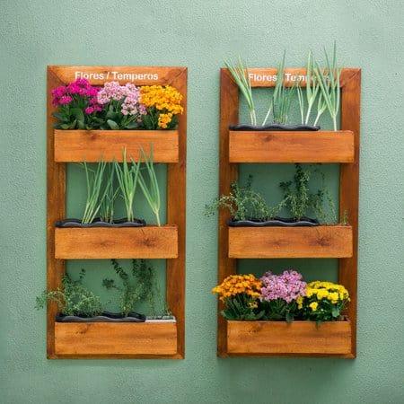 floreiras de parede de madeira para flores e temperos