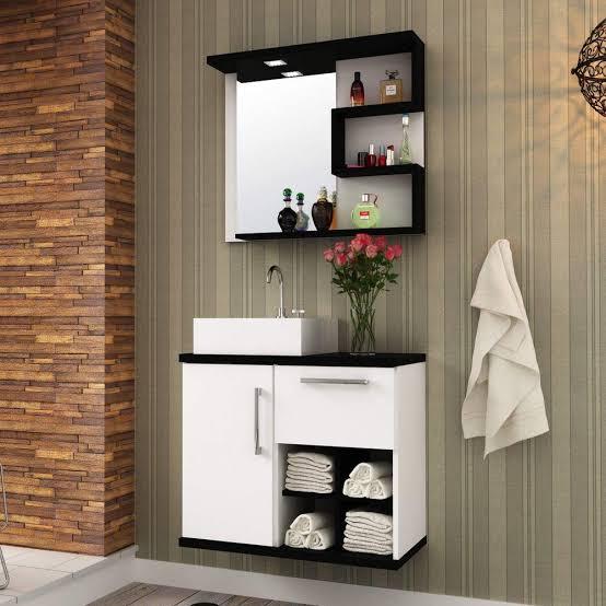 gabinete para banheiro com cuba quadrada