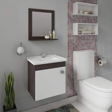 gabinete para banheiro com espelho emoldurado