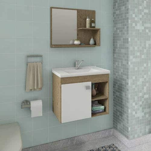 gabinete para banheiro com pia branca