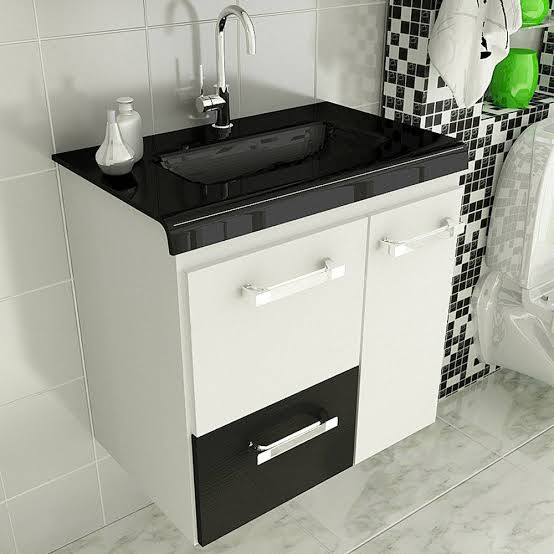 gabinete para banheiro com pia branco e preto