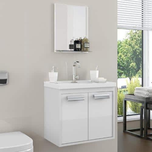 gabinete para banheiro com pia branco