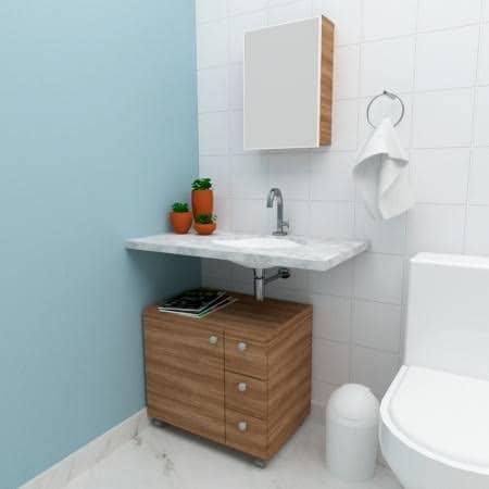 gabinete para banheiro com rodinha amadeirado