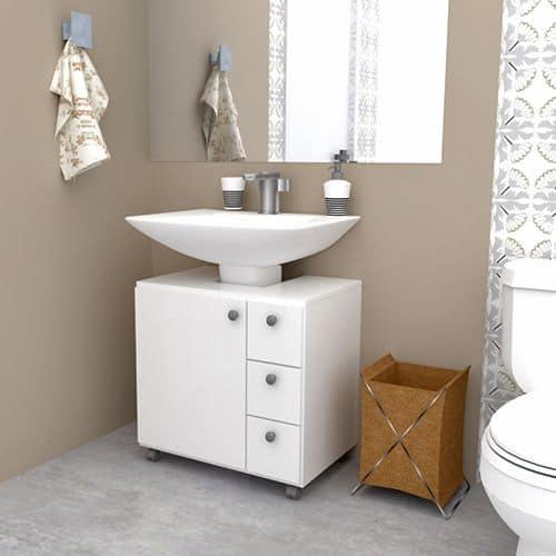 gabinete para banheiro com rodinha branco