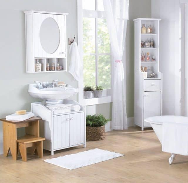 gabinete para banheiro de madeira branco