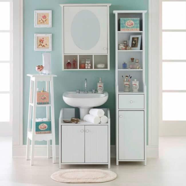 gabinete para banheiro de madeira provençal