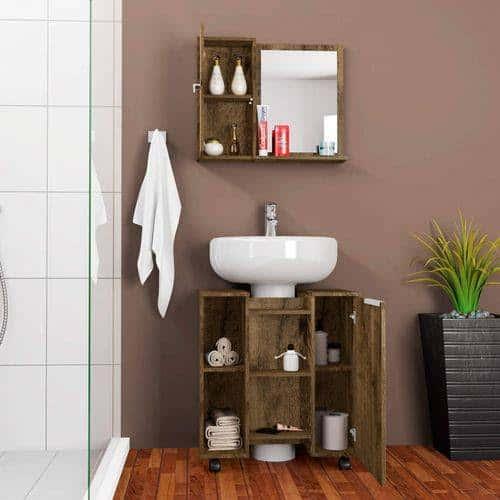 gabinete para banheiro de madeira rustica