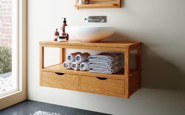 gabinete para banheiro de madeira suspenso