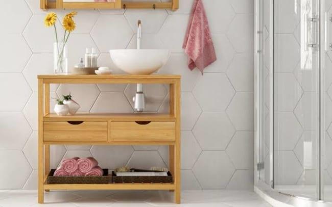 gabinete para banheiro de madeira