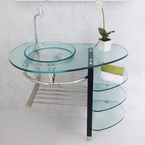 gabinete para banheiro de vidro completo