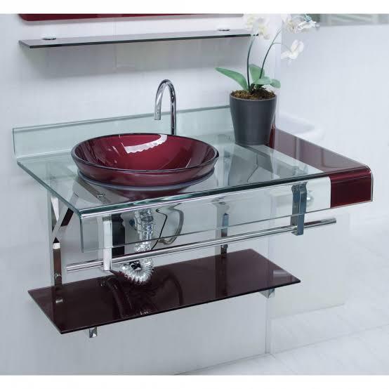 gabinete para banheiro de vidro detalhado