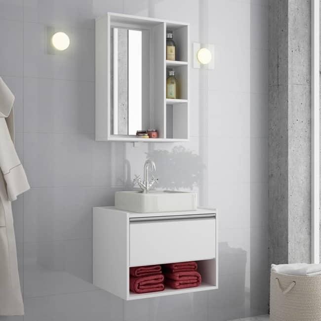 gabinete para banheiro pequeno branco
