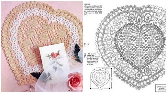 gráfico de guardanapo de crochê de coração
