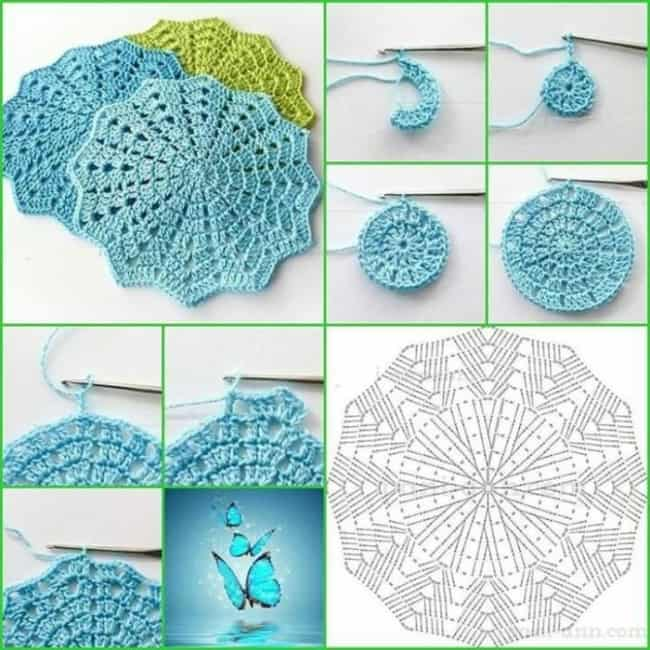 gráficos de guardanapo de crochê