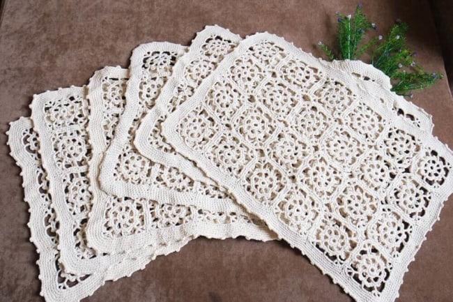 guardanapo branco de crochê