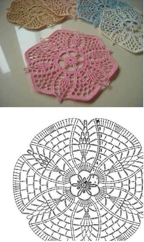 guardanapo de crochê em forma de flor