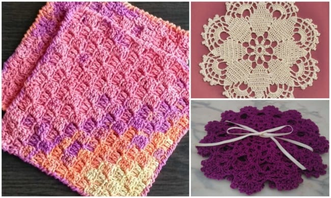 guardanapos de crochê coloridos