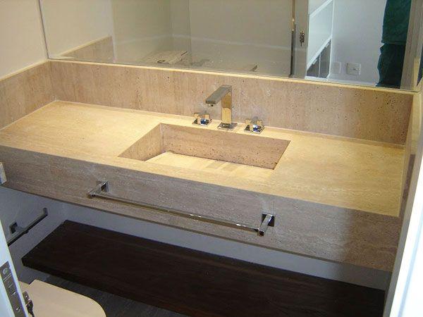 ideia de Pia de mármore para banheiro