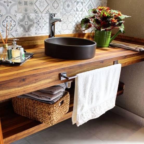 ideia de Pia de madeira para banheiro