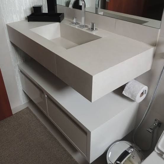ideia de Pia de porcelanato para banheiro