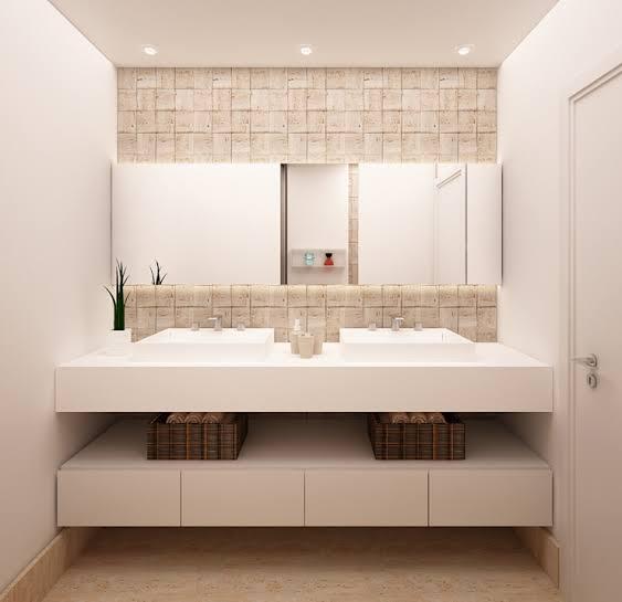 ideia de Porcelanato bege em banheiro
