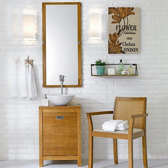 ideia de gabinete para banheiro de madeira