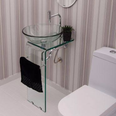 ideia de gabinete para banheiro de vidro