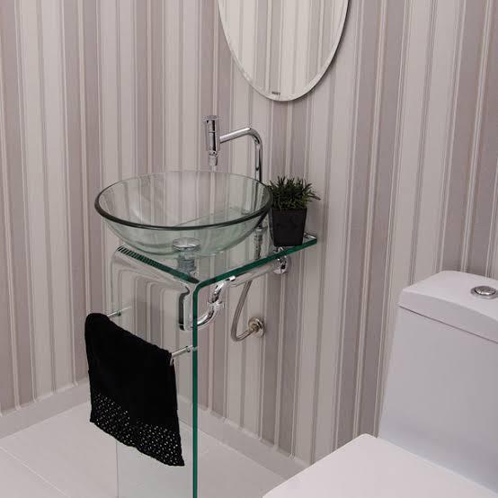 ideia de pia de banheiro de vidro