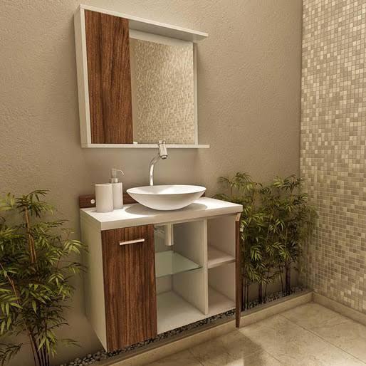 ideias de gabinete para banheiro com espelho
