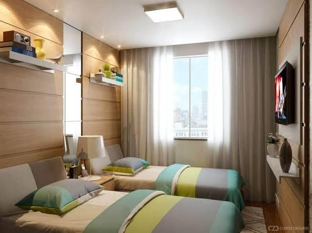 ideias de quarto de solteiro planejado com duas camas