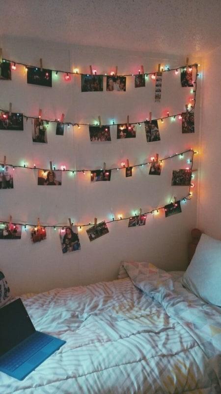 ideias de varal de fotos com luzes