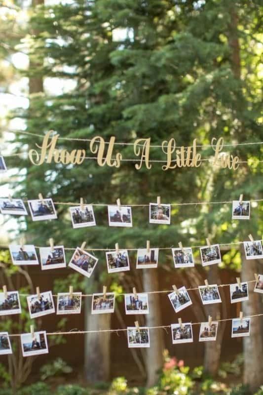 ideias de varal de fotos para casamento