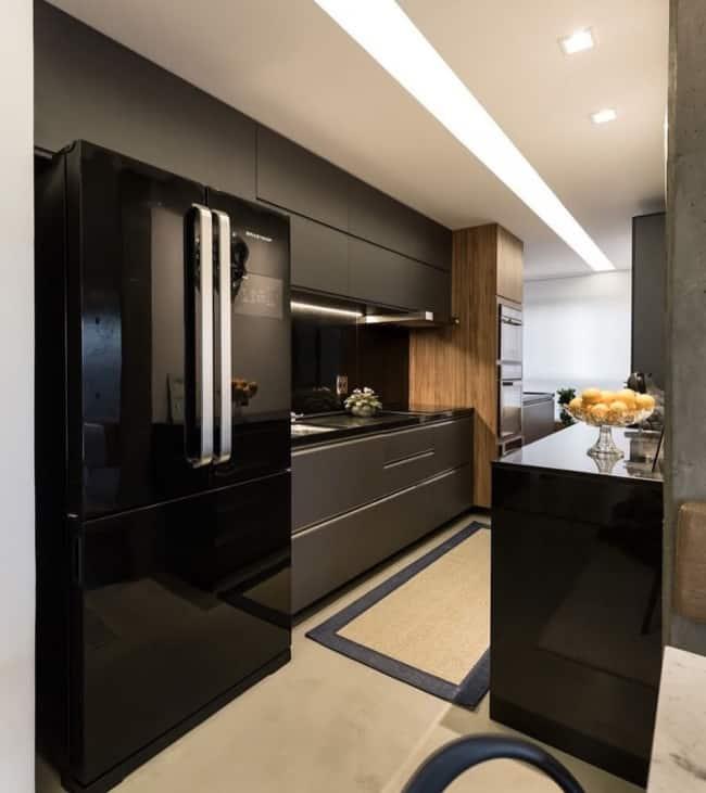linda geladeira preta espelhada ideias