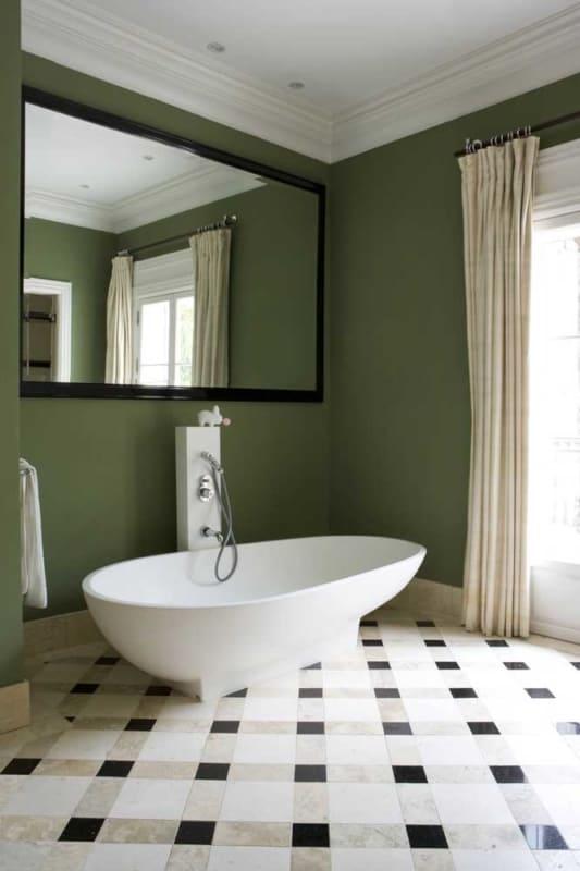 lindo banheiro verde musgo