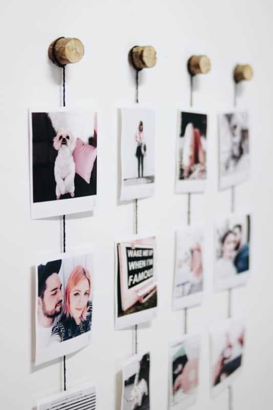 lindo varal de fotos polaroid