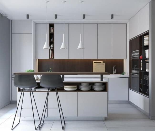 luminária de teto branca na cozinha