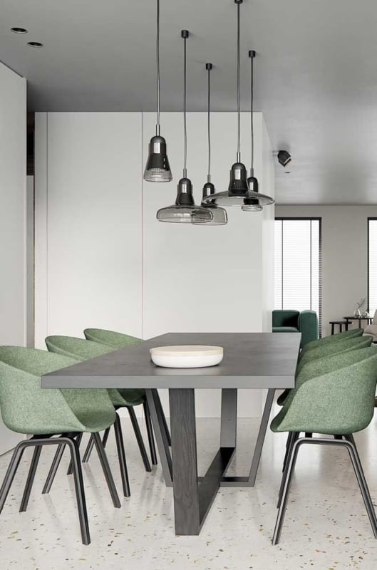 luminária de teto em sala de jantar