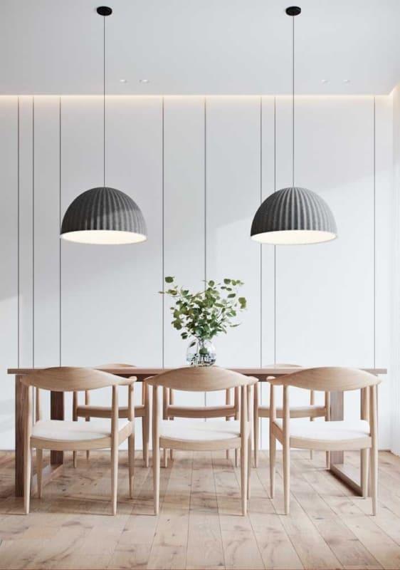 luminária de teto na sala de jantar